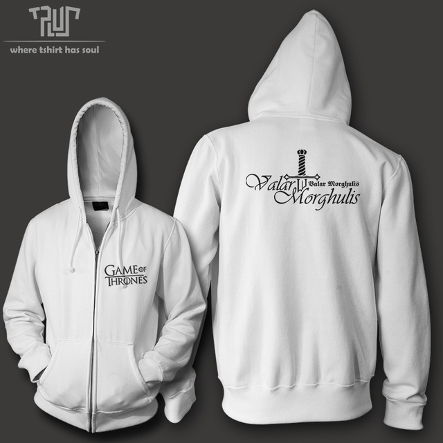 Game Of Thrones Valar Morghulis All Men Must Die Men Zip Up Hoodie Heavy Hooded Sweatershirt