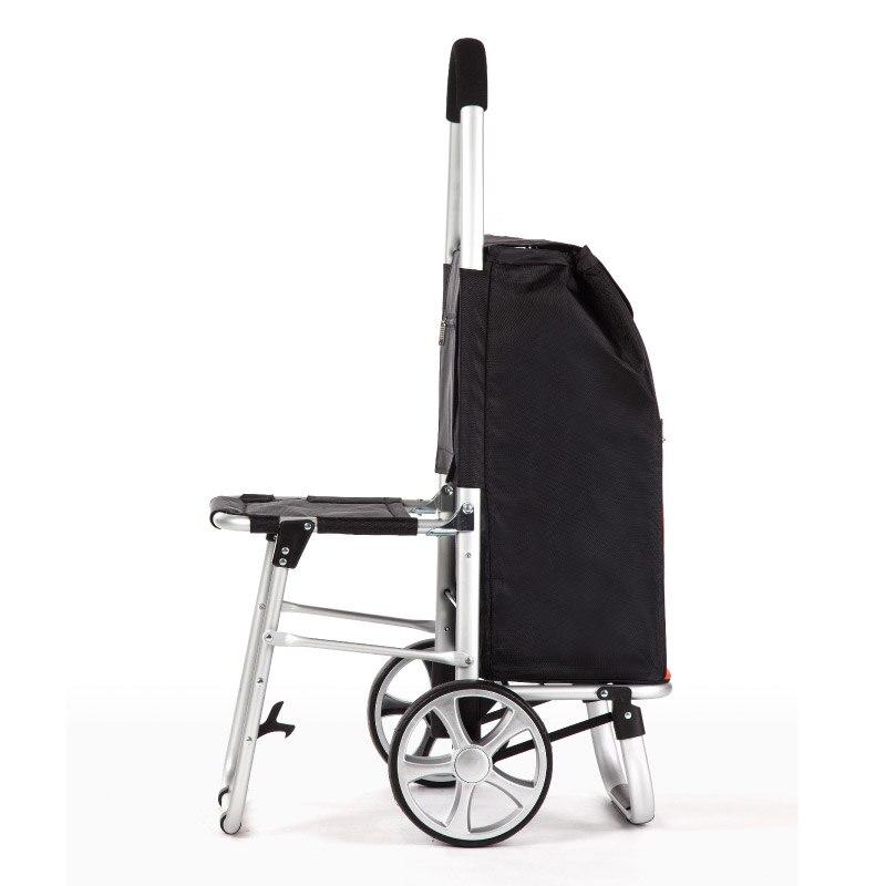 Heerlijk Leven Met Zetel Kruk Winkelwagentje Oude Man Kopen Voedsel Winkelwagen Kleine Pull Opvouwbare Trolley Auto Seat Draagbare Trailer