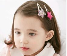 Fashion new cute hairpin baby hair accessories metal colorful knit bow girl star