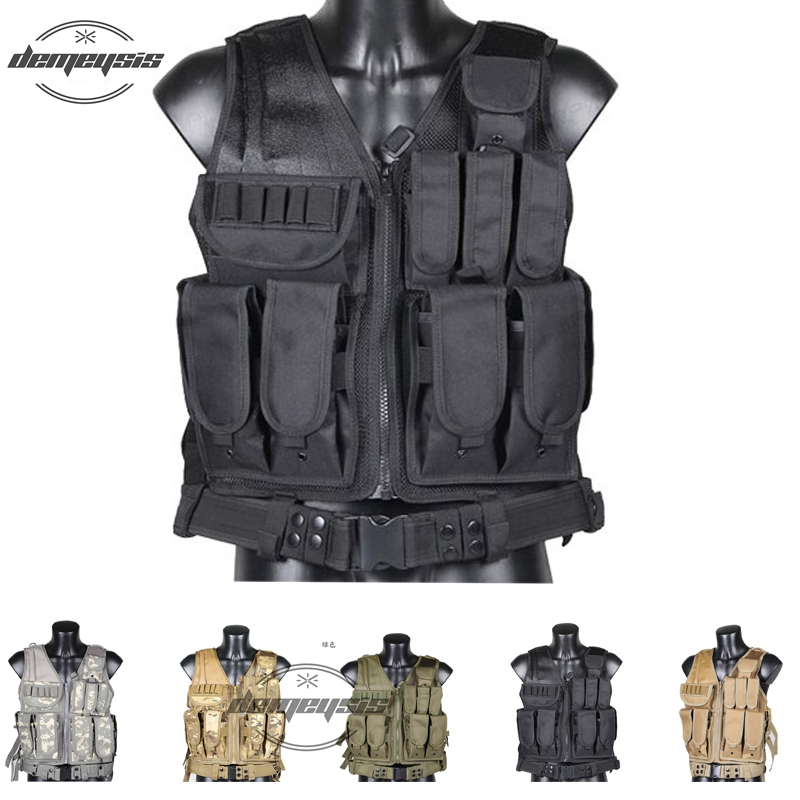 Black tan green multicam Military Tactical Vest Paintball Army Vest with Gun Holster MOLLE Airsoft Combat Tactical Vest high quality gun holster military waist safarland 6335 1911 holster tactical gun holster