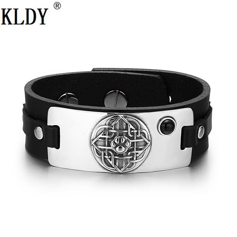 KLDY Newest Wolf Paw stainless Bracelet Black Onyx Adjustable Leather Bracelets Biker cool decorations couple statement Jewelry