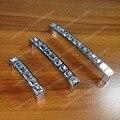 Espaçamento dos furos de 96mm de Cristal de Vidro de prata Gaveta Da Cômoda lida com comprimento de 105mm e CC 96mm puxadores móveis Barra de puxar