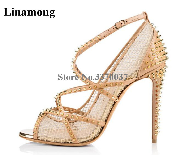 Brand Design Women Fashion Peep Toe Nude Black Mesh Stiletto Heel Rivet Pumps Gold Metal Spike Strap Cross Lace High Heels fashion women s sandals with metal and stiletto heel design