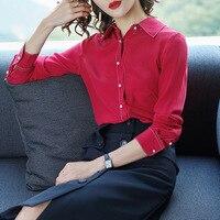 Korean Fashion 2018 New Spring 100 Silk Blouses For Woman Elegant Lady Large Size Simple Blouse