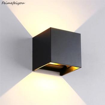Feimefeiyou 12 Watt luminaria lampada led IP67 outdoor Led Wandleuchte Aluminium Einstellbar Aufbau Cube Led Garten Veranda Licht-in LED-Innenwandleuchten aus Licht & Beleuchtung bei