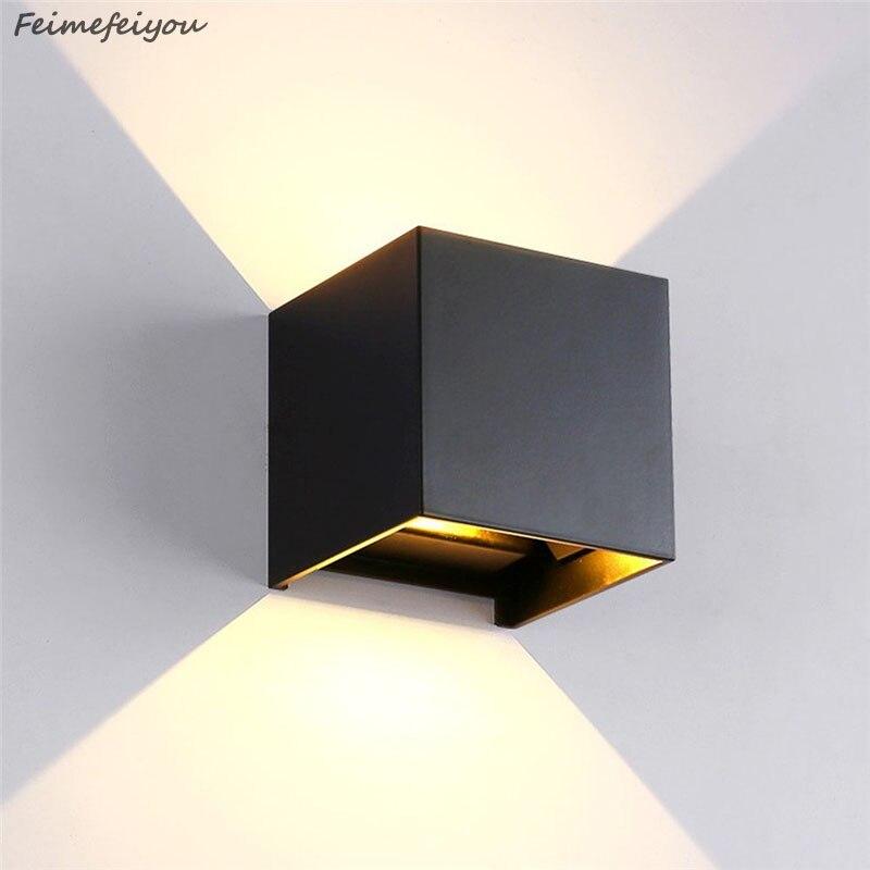Feimefeiyou 12W luminaria lampada led IP67 outdoor Led Wall Lamp Aluminum Adjustable Surface Mounted Cube Led Garden Porch Light