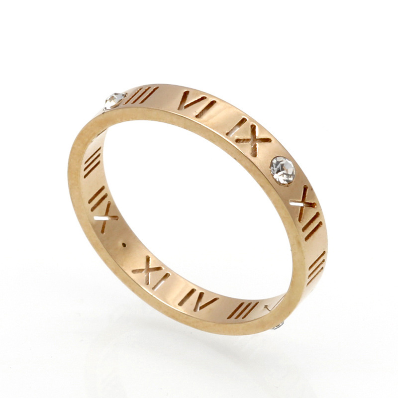 Titanium Steel Roman Numerals Love Ring For Men Women Men Size Couple Lovers Gift Rose Gold Steel Color Free Shipping A0031