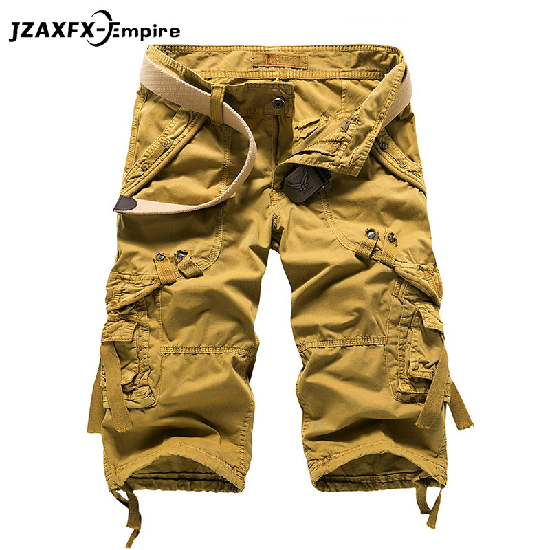 Summer Military Men's Baggy Multi Pocket Military Zipper Cargo Shorts Breeches Male Long Army Green Khaki Mens Tactical Short
