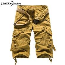 Summer Military Men's Baggy Multi Pocket Military Zipper Cargo Shorts breeches Male Long Army Green Khaki Mens Tactical Short