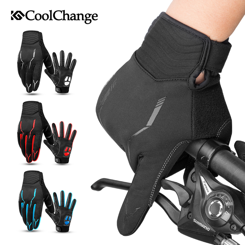 CoolChange Radfahren Handschuhe Winter Thermische Winddicht Fahrrad Handschuhe Outdoor Sport MTB Bike Handschuh Voll Finger GEL Für Männer Frauen