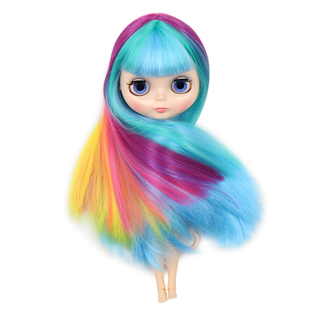 Blyth 1 6 Nude Doll Colorful Long Straight Hair With Bangs natural skin joint body DIY