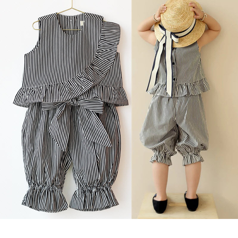 Newest Summer Girls Fashion Boutique Tassel Outfits Black White Stripe Frill Ruffle Vest Top Pirate Pantaloons