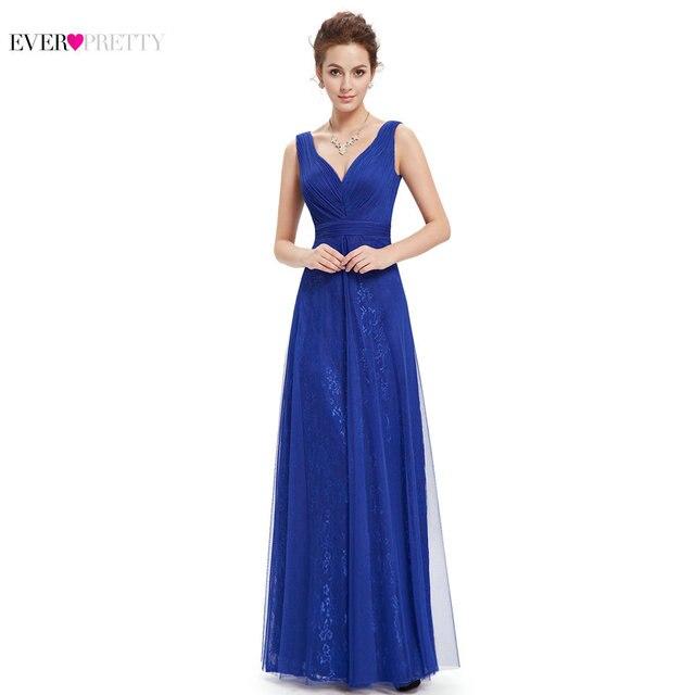 Prom Vestido de Festa Mulheres Sexy Azul Com Decote Em V Ruched EP08532 Ever-Bonito Longo Vestido de Verão 2017 Vestidos de Baile