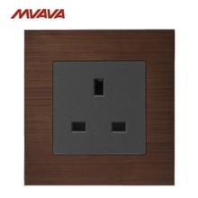 MVAVA 13A Socket UK Standard Wall Outlet Decorative Receptacle AC110-250V Luxury Aluminium Brushed Panel Free Shipping