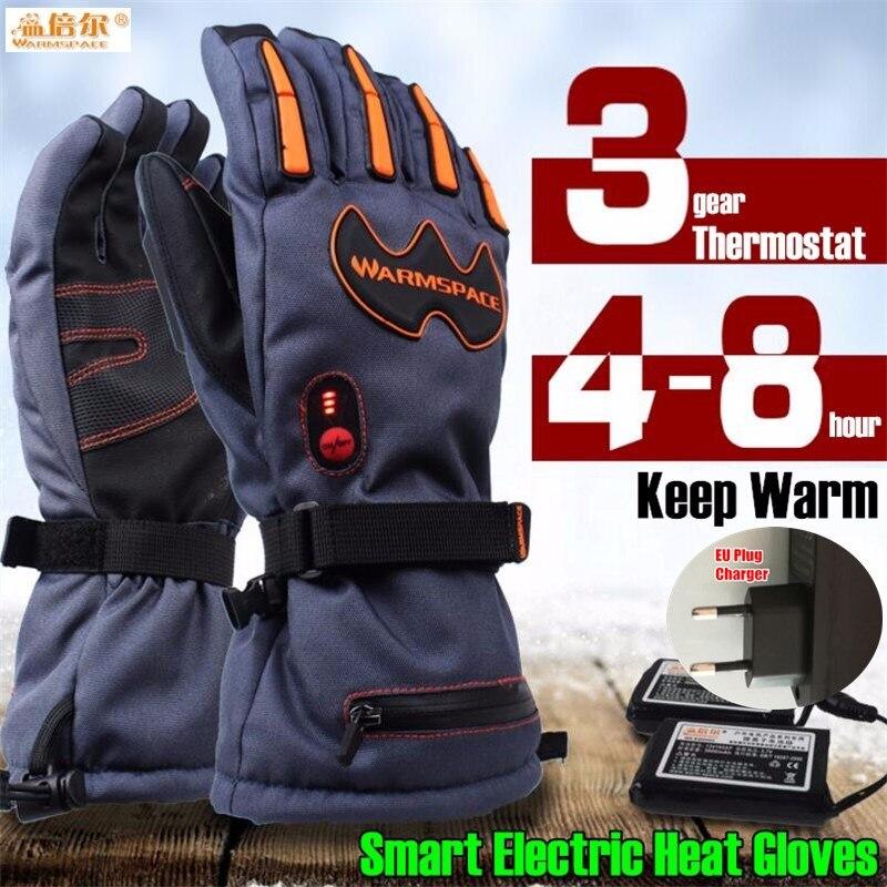 Warmspace 5600MAH Smart Electric Heat Gloves Ski Waterproof Lithium Battery Self Heating 5 Fingers Hand Back