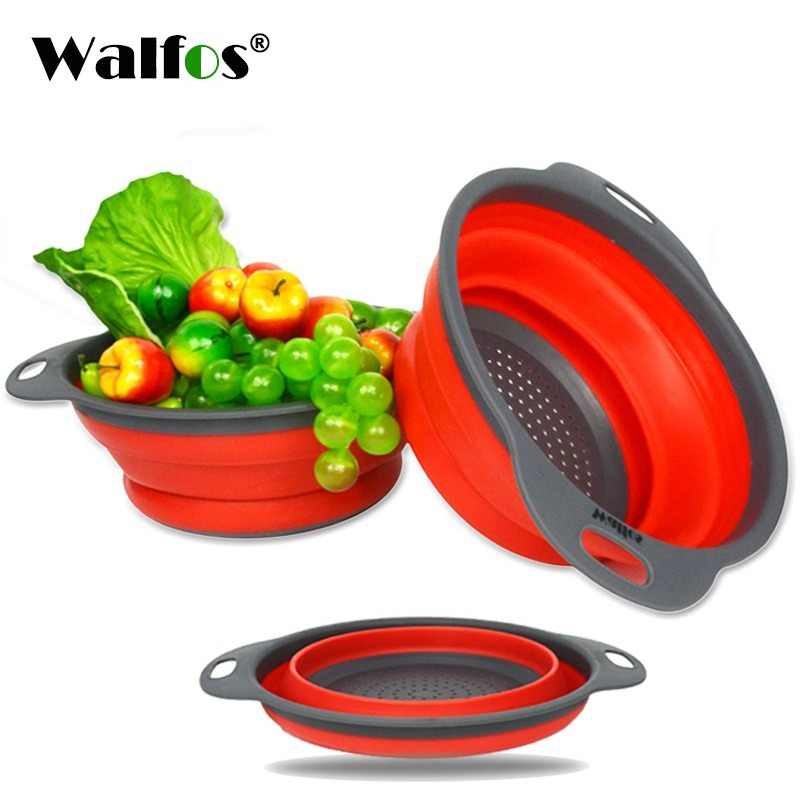 WALFOS 2 pieces Foldable silicone Collapsible Kitchen Colander Kitchen Tools Fruit Vegetable Strainer Drainer Washing Basket