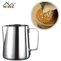 Wowcc 150 ml/350 ml/600 ml 식품 학년 스테인레스 스틸 우유 frothing 주전자 에스프레소 커피 투수 바리 스타 크래프트 커피 라떼 투수