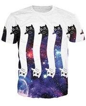Newest Cute Galaxy Cats T-Shirt Men Women Funny Space Kitty Prints tshirts Hipster 3D t shirt Harajuku Tee Shirts
