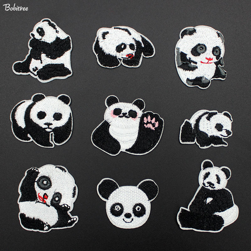 Rock & Pop 1pcs Small Cute Panda Patches For Clothing Iron On Applique Patches Shirt Bag Jacket Stickers Badges For Clothes Lshb503