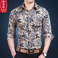 Осень мужской деловой случайные печати с длинным рукавом рубашки тонкий длинный рукав рубашки цветы цветок верхней части рубашки