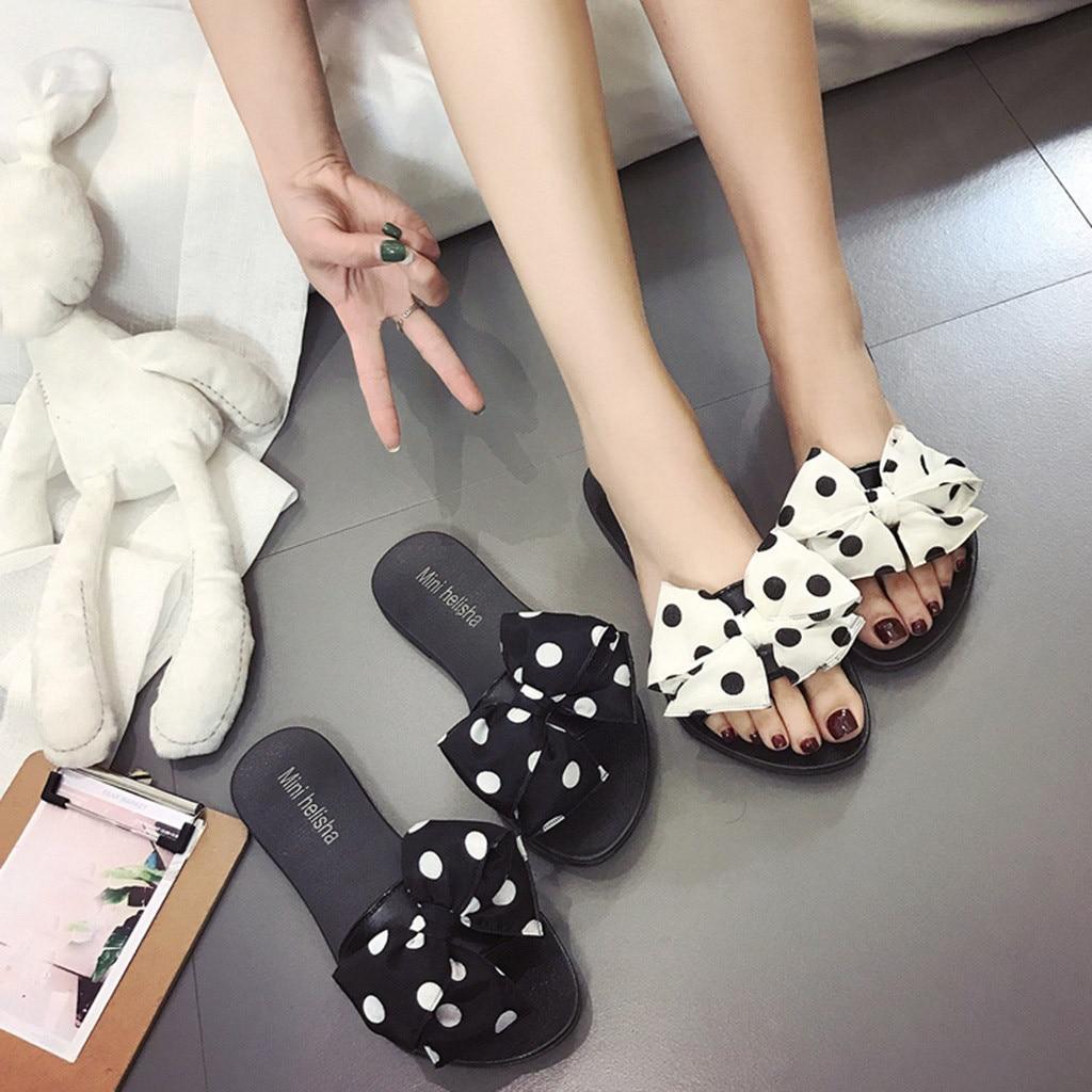 2019 Frauen Hausschuhe Sommer Strand Casual Schuhe Mode Bowknot Polka Dot Flache Rutsche Outdoor Pantoffel Mode Faulenzer