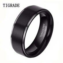 1pc8mm cepillo negro 100% carburo tungsten anillos de bodas de la joyería anillo de los hombres de moda banda de compromiso anelli uomo anel masculino preto