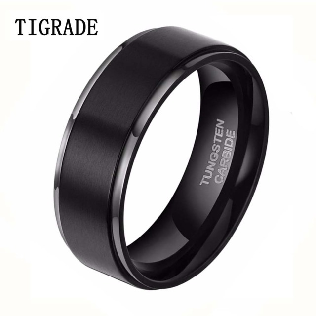 8mm Black Brushed Tungsten Carbide Ring Men Fashion Jewelry High