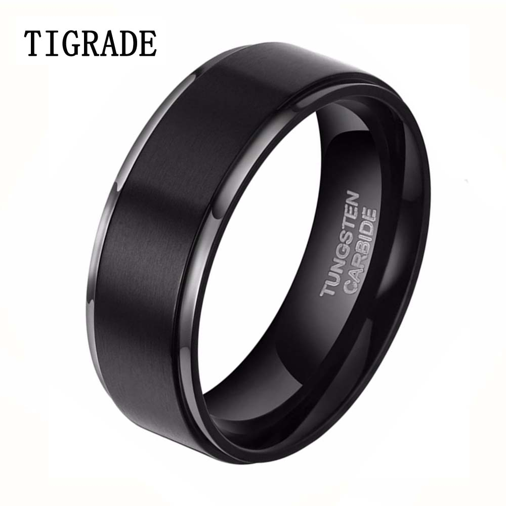 8mm black brushed tungsten carbide ring men fashion jewelry high polished silver edge male wedding rings - Black Male Wedding Rings