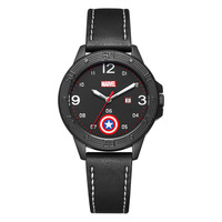 Marvel America Captain Boy's Quartz Watch Auto Date Shield in Dial Leather Children Wristwatches