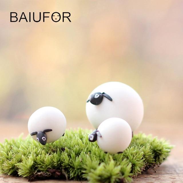 Lovely White Sheep Family Mini Animal Figures Miniatures For Diy