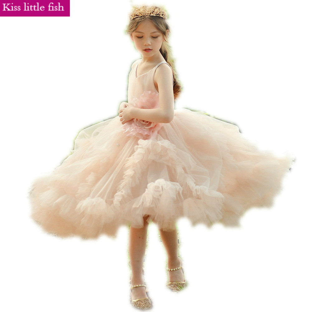 Free shipping 2019 new Spaghetti Straps Ruched Ankle length flower girl dresses Pageant dresses for girls
