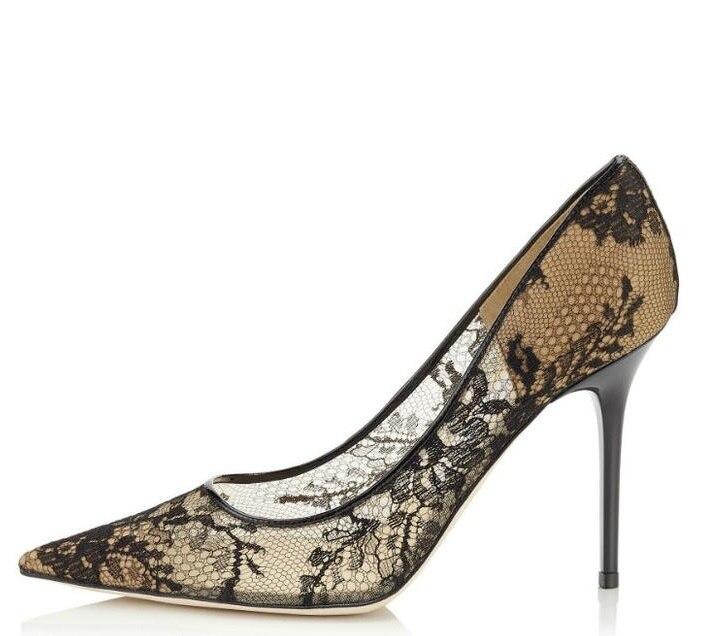 Sexy femmes à talons hauts noir dentelle pompes bout pointu sans lacet robe de soirée chaussures de mode Transparent bureau dame chaussures grande taille 10