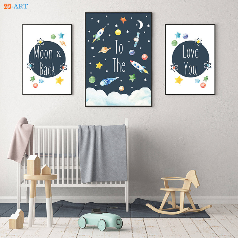 mordern canvas painting space nursery prints space themed poster wall art canvas framed kids. Black Bedroom Furniture Sets. Home Design Ideas