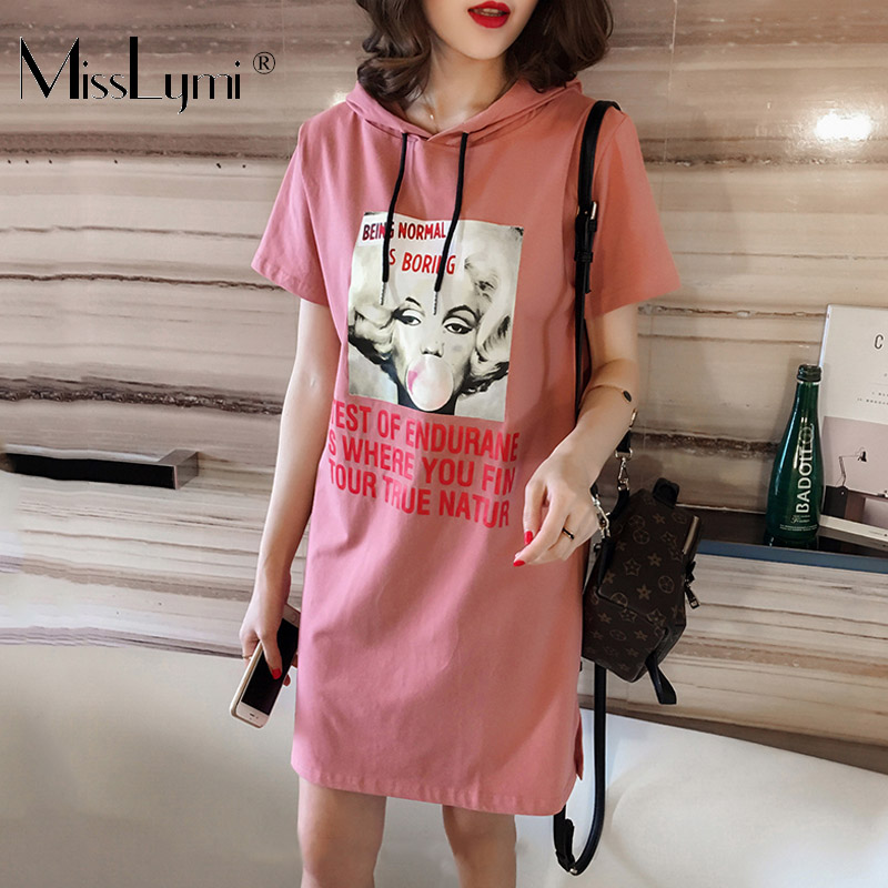 159f638e2b02 L-4XL-Plus-Size-Women-Hoodie-Dress -Summer-2018-Fashion-Monroe-Face-Print-Short-Sleeve-Loose.jpg