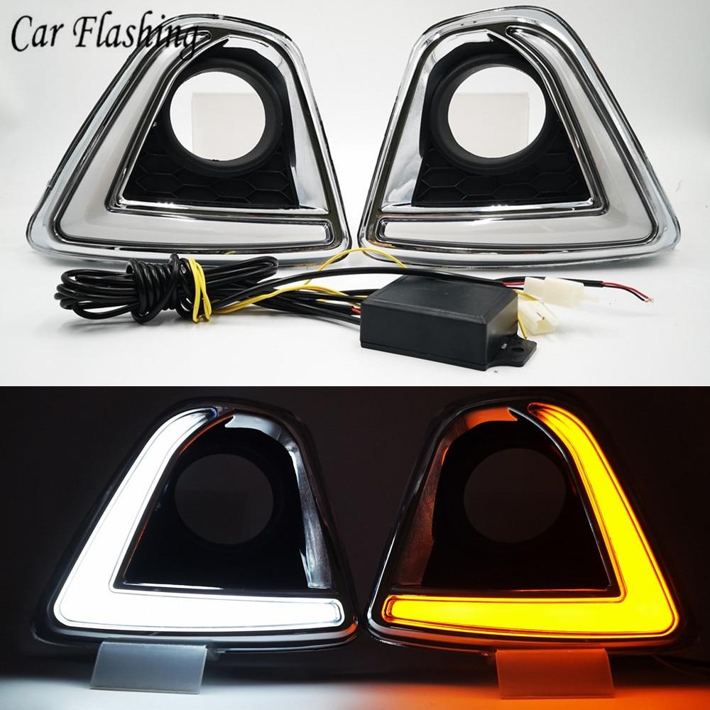 Car flashing 2PCS 12V led car drl daytime running lights with fog lamp hole for Mazda