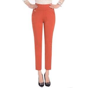 Image 4 - 5XL Pants Women Summer Elastic Slim High Waist Pants Female Trousers Women Casual Streetwear Plus Size Office Ladies Pants Q1427