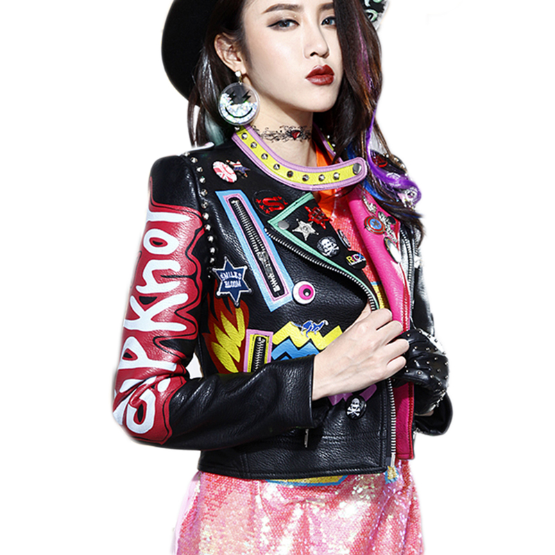 leather jacket 2019 New street punk rock fashion leather ...