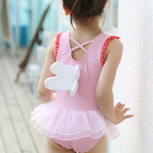 Children Swimwear Baby One Piece Swimsuit With Cap Kids Angel Wings Cute Bathing Suit