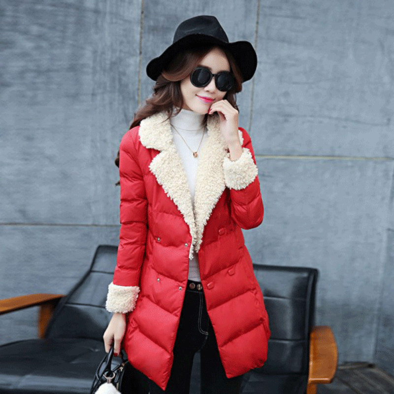 Winter 2017 Fashion Parkas Women Slim Double Breasted Turn Down Collar Long Sleeved Coat Cotton Padded Jacket  Female Outwears europe 2015 new women winter coat slim turn down collar long double breasted leather match cotton jacket coat w20