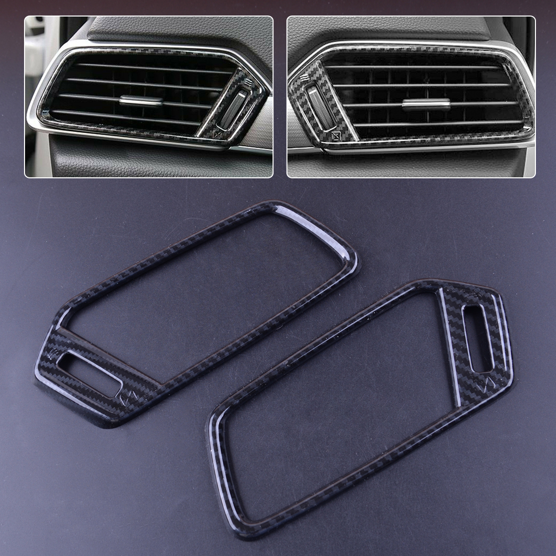 2Pcs Carbon Fiber Style Plastic Auto Car Air Vent Outlet Frame Cover Trim Sticker <font><b>Accessory</b></font> Fit For <font><b>Honda</b></font> <font><b>Accord</b></font> <font><b>2018</b></font> 2019 image