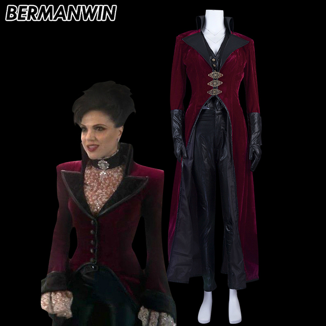bermanwin high quality once upon a time evil queen regina costume adult women red outfit halloween