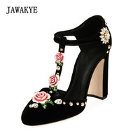 2018 Newest Luxury Velvet High Heel Shoes Women Round Toe Rhinestone Diamond Flower Mary Janes Party Shoes Woman