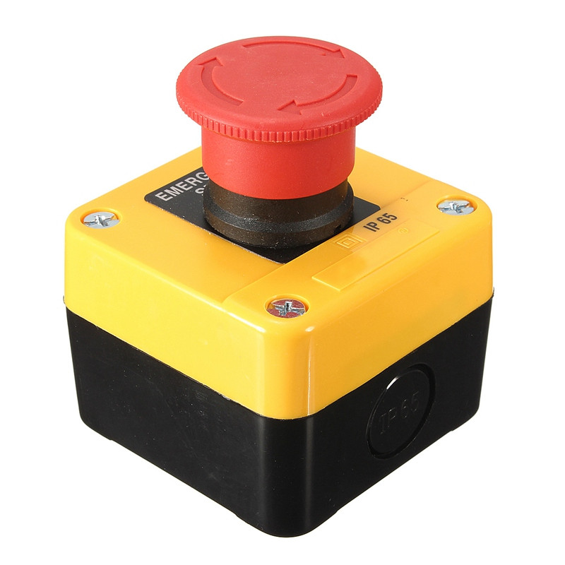 600V 10A Trun To Release Waterproof Red Sign Emergency STOP Push Button Switch Button Box Switches