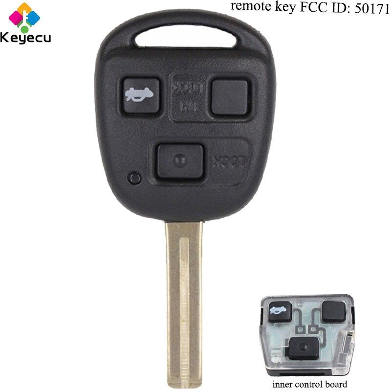 KEYECU Remplacement DEMANDER Sans Clé Clé De Voiture À Distance-3 Boutons et 433 mhz et 4D68 Puce & TOY48 Uncut Lame -FOB pour Lexus FCC ID: 50171