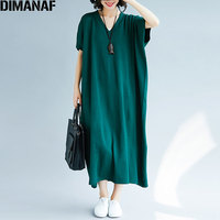 DIMANAF Women Dress Autumn Plus Size Knitted Femme Lady Elegant Sweater V Neck Batwing Loose Solid Sweater Long Dress Fit 5XL