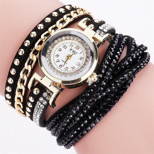 #5003CCQ Women Fashion Casual Analog Quartz Women Rhinestone Watch Bracelet Watc