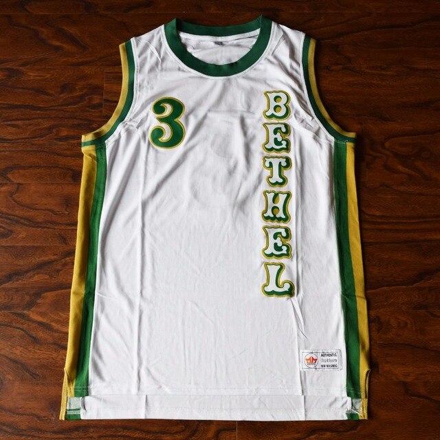 96cd91de4e74 MM MASMIG Allen Iverson  3 BETHEL High School Basketball Jersey Stitched  White Vertical Version