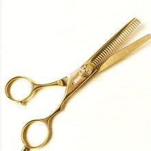 Волосы ножницы 28 зубов золото титана 5.5 дюймов парикмахерская волос истончение ножницы из нержавеющей стали