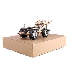 Het stuk speelgoed van kinderen houten licht sensatie auto diy auto puzzel speelgoed chassis kit intelligent speelgoed voor kinderen