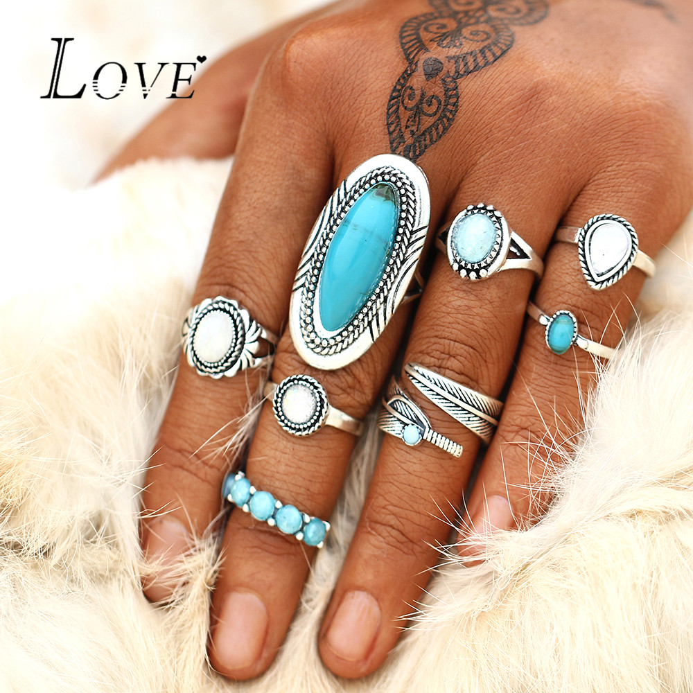 Boho Big Opal Stone Rings Set For Women Fashion 8Pcs/set Antique Silver Color Geometric Knuckle Ring Trendy Jewelry Anillos Gift